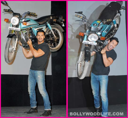 John Abraham throws a bike!