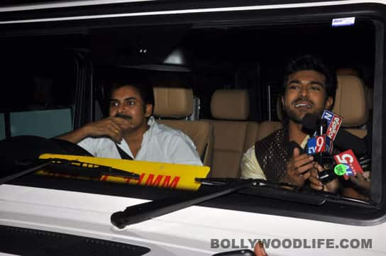 Pawan Kalyan drives Ram Charan to his engagement.