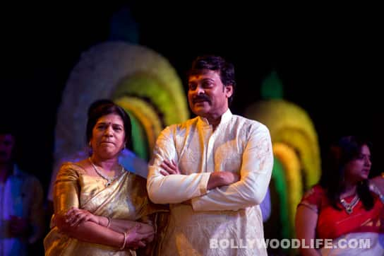 Chiranjeevi and wife Surekha at their son's engagement.