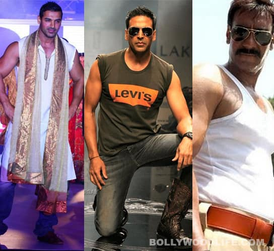 B-town hunks: too beefy for their shirts!