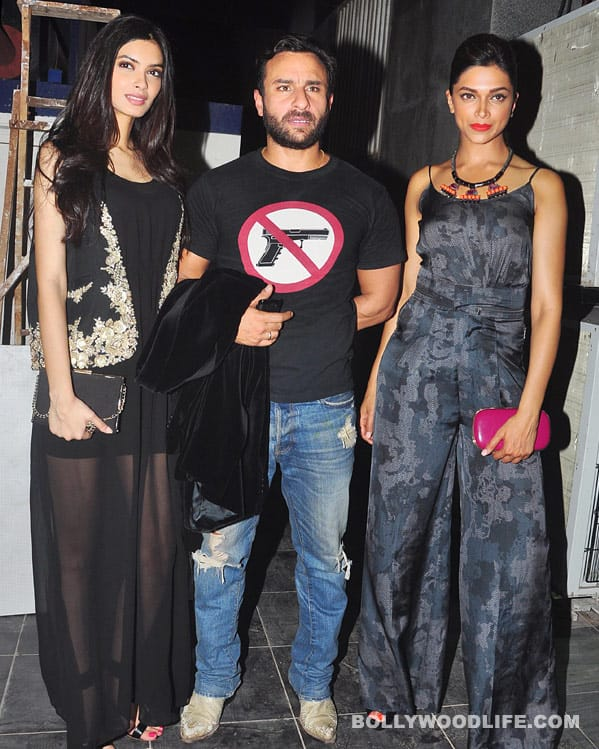Diana Penty, Saif Ali Khan, Deepika Padukone at the Cocktail promotional bash