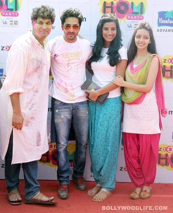 Ayushmann Khurrana, Kunaal Roy Kapur, Shabana Azmi, Raima Sen, Zoya Akhtar play Holi: Viewpics!
