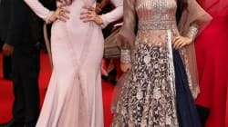 Ameesha Patel and Puja Gupta walk the red carpet at the 66th Cannes International Film Festival
