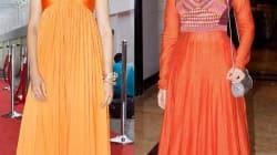Deepika Padukone and Sonam Kapoor in orange outifts