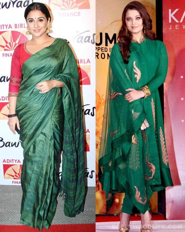 Navratri special: Aishwarya Rai Bachchan and Vidya Balan look classy in green!