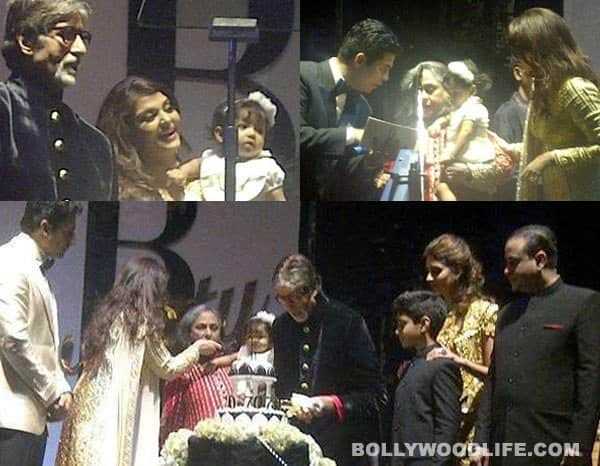 Aaradhya Bachchan with Amitabh Bachchan on his 70th birthday
