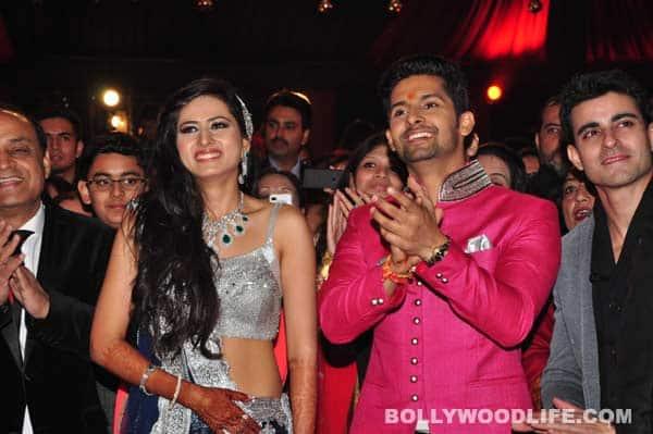 Ravi Dubey-Sargun Mehta wedding: Karan Wahi and Rahul Mahajan make the couple dance at their Sangeet. View pics!