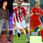 What is John Abraham doing with football players Peter Crouch and Robbie Fowler
