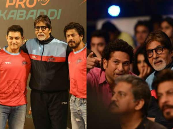 Amitabh Bachchan enjoys a Kabaddi match with Shah Rukh Khan, Aamir Khan and Sachin Tendulkar!
