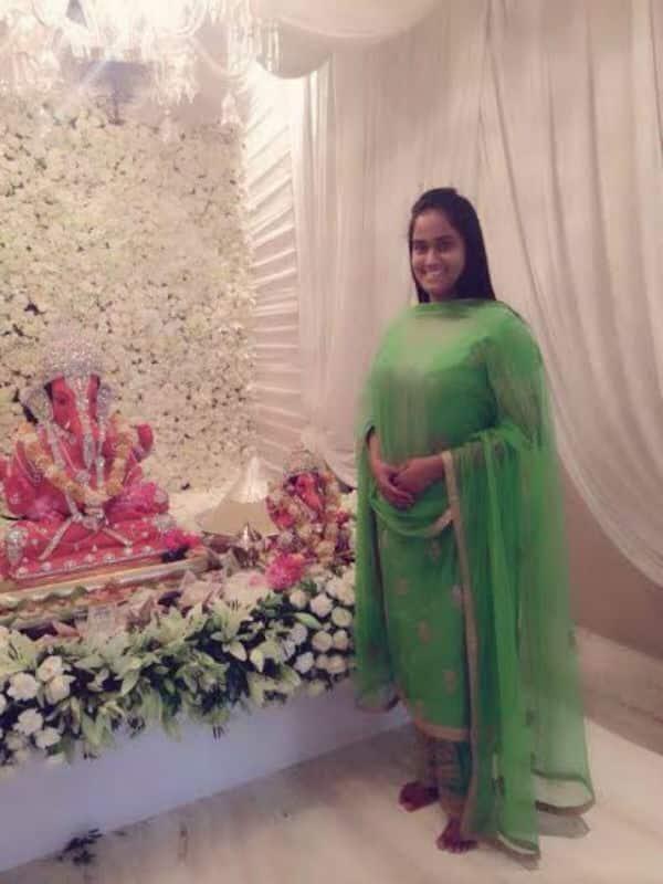 Ganeshotsav 2014: Salman Khan's sister Arpita Khan celebrates Ganpati in a gorgeous green desi attire-viewpic!