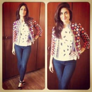 Spotted: Kareena Kapoor Khan strikes a sexy pose during Singham Returns promotions!