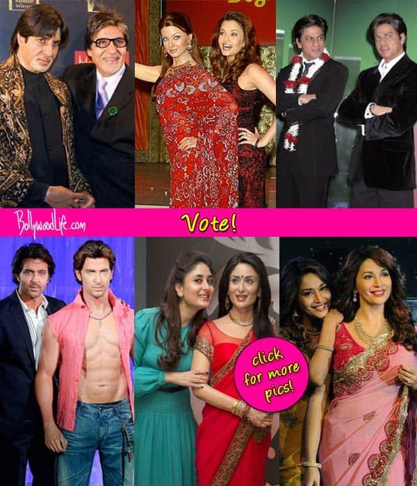 Who looks closest to their wax statues at Madame Tussauds Shah Rukh Khan, Salman Khan, Kareena Kapoor Khan, Amitabh Bachchan, Madhuri Dixit Nene or Aishwarya Rai Bachchan?