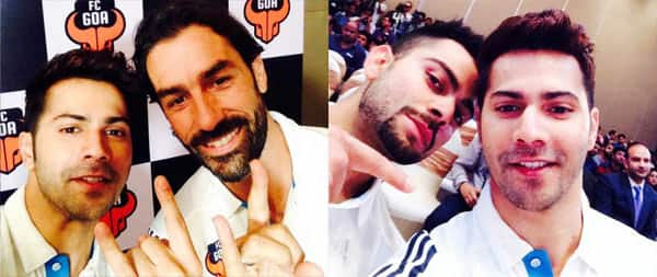 Varun Dhawan hangs out with Robert Pires and Virat Kohli at FC Goa jersey launch!