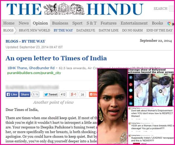 Deepika Padukone cleavage controversy: The Hindu tells its view point to the Times Of India