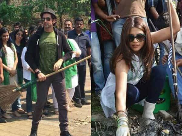Hrithik Roshan and Priyanka Chopra support Prime Minister Narendra Modi's Clean India initiative!