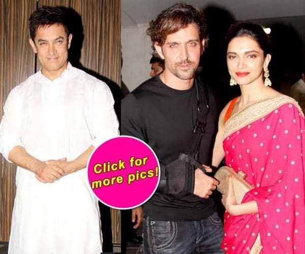 Hrithik Roshan, Deepika Padukone, Farhan Akthar grace Aamir Khan's Diwali party – view pics!