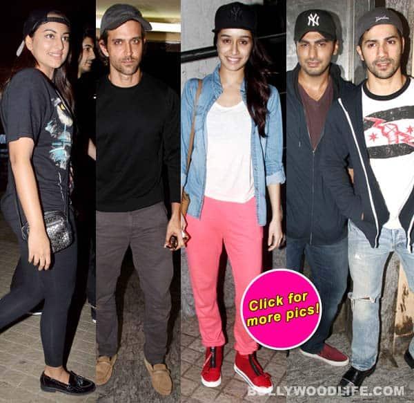 Spotted: Hrithik Roshan watching Shahid Kapoor's Haider and Shraddha Kapoor watching Katrina Kaif's Bang Bang!