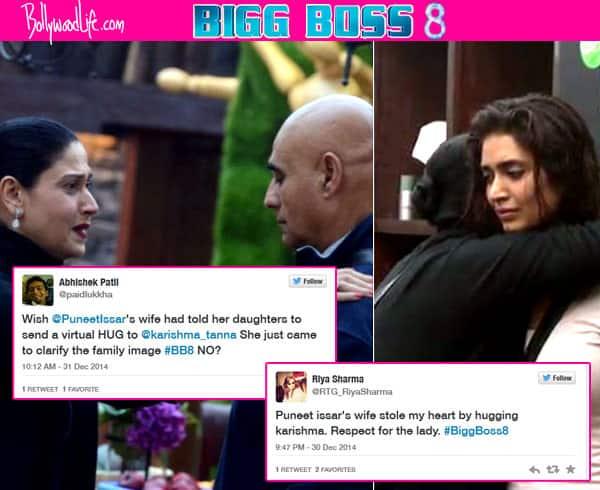 Bigg Boss 8: Puneet Issar's wife hugs Karishma Tanna, Twitteratis give a mixed reaction!