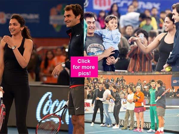 Deepika Padukone, Aamir Khan play a friendly tennis match with Roger Federer and Novak Djokovic – view pics!