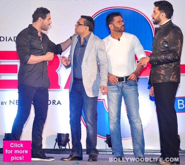 Abhishek Bachchan, John Abraham, Paresh Rawal, Suniel Shetty at the launch of Hera Pheri 3 – view pics!