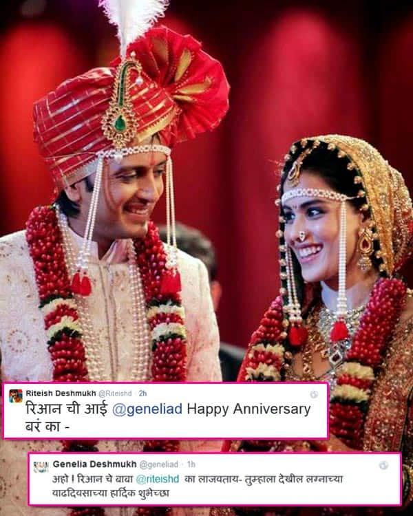 AWW: Riteish Deshmukh and Genelia Deshmukh wish each other Happy Anniversary in Marathi on Twitter!