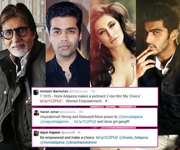 Here's what Amitabh Bachchan, Arjun Kapoor, Karan Johar, Nargis Fakhri have to say about Deepika Padukone's short film, My Choice…