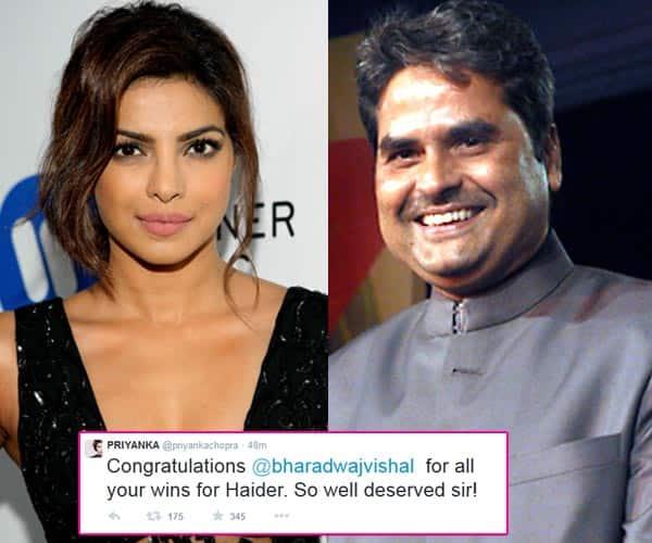 Priyanka Chopra congratulates Vishal Bhardwaj on Haider's National Award win!