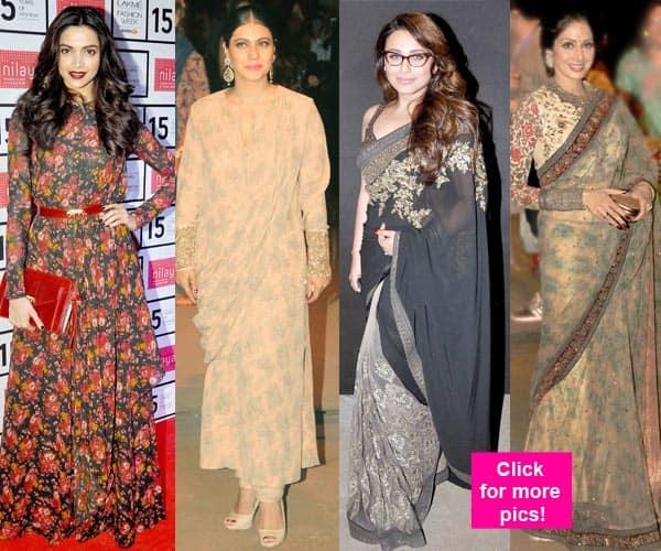 Deepika Padukone, Kajol and Rani Mukerji drop some sparkle at Sabyasachi's show during Lakme Fashion Week 2015