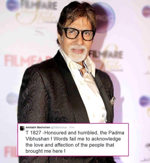 Amitabh Bachchan feels honoured and humbled on receiving the Padma Vibhushan Award!