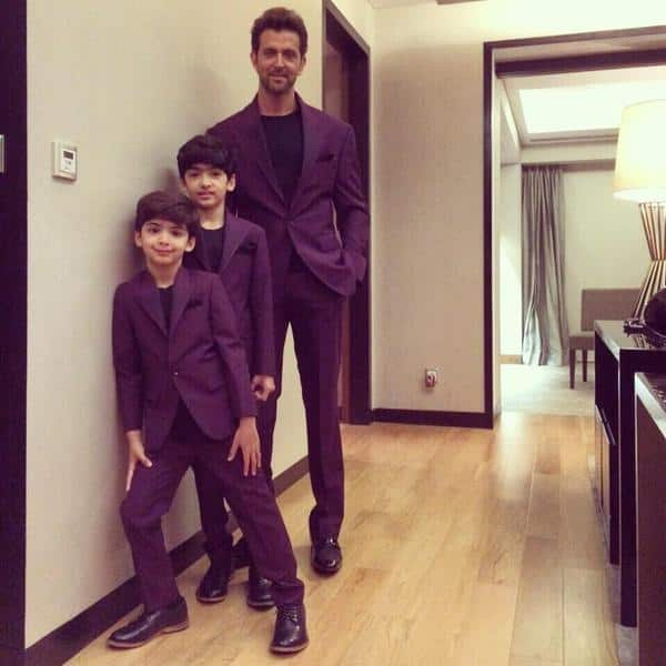 Purple overload: You've GOT to see this colour co-ordinated picture of Hrithik Roshan with sons Hridhaan- Hrehaan!