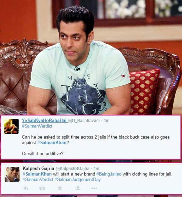 Salman Khan's jail term becomes a butt of jokes on Twitter!