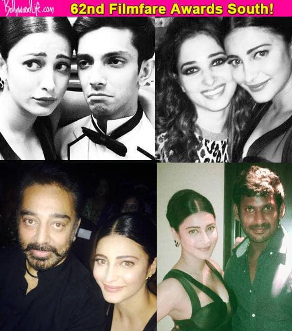 62nd Filmfare Awards South: Shruti Haasan clicks selfies with daddy Kamal Haasan, Tamannaah Bhatia, Vishal and Anirudh Ravichander – View pics!