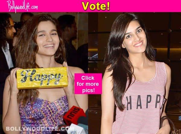 Alia Bhatt's 'Happy' clutch bag or Kriti Sanon's 'Happy' crop top, what do you like more? Vote!