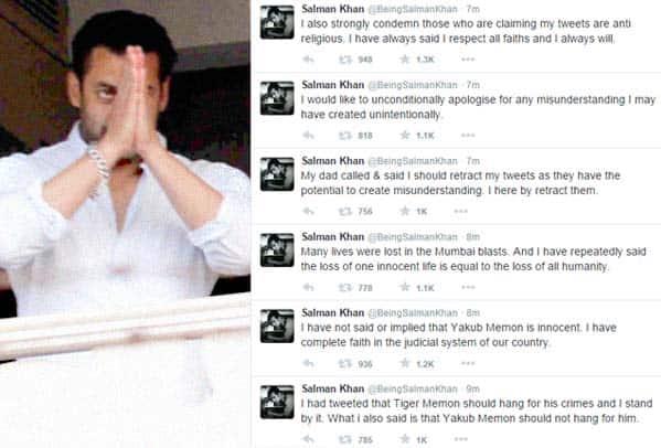 Salman Khan apologises and retracts his tweets on Yakub Memon!