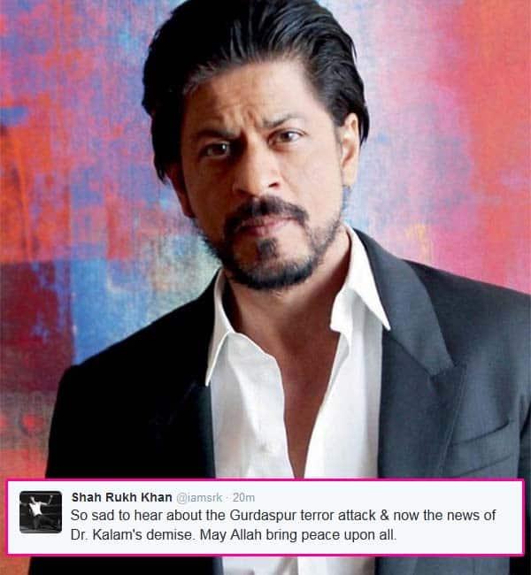 Shah Rukh Khan expresses regret over APJ Abdul Kalam's death