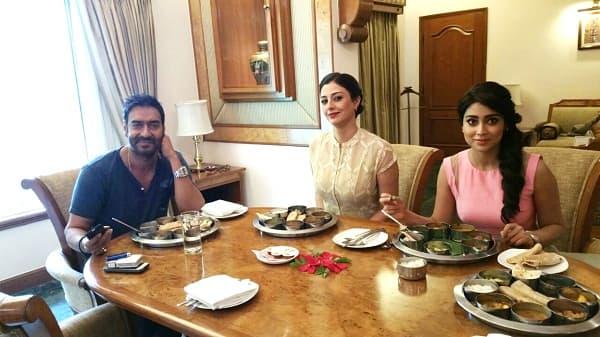 What are Ajay Devgn, Tabu and Shriya Saran doing in Ahmedabad?
