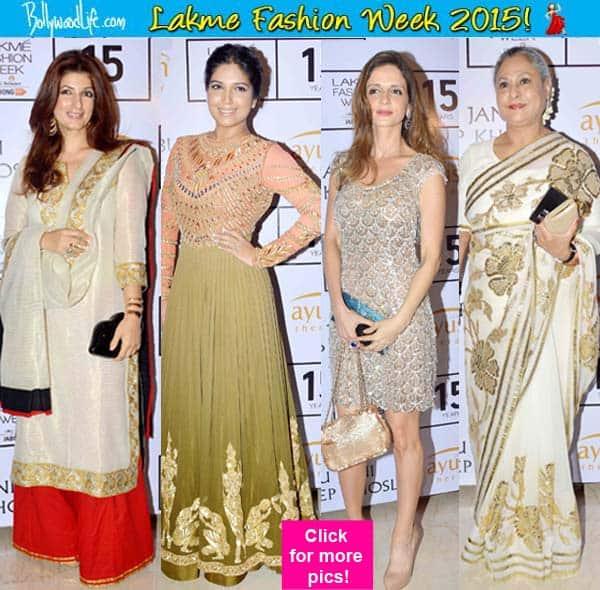 Lakme Fashion Week Winder Festive 2015: Abu-Sandeep put up a ROCKING retro show, Twinkle Khanna, Sussanne Khan, Bhumi Pednekar attend!