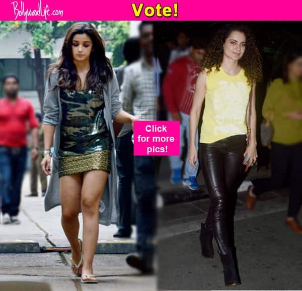 Alia Bhatt in a mini skirt or Kangana Ranaut in leather pants, who looks hotter? Vote!