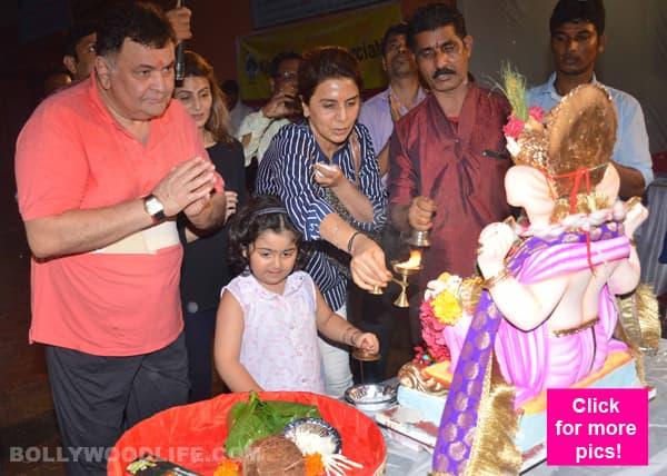 Rishi Kapoor and wife Neetu Singh bid farewell to Ganpati Bappa – view HQ pics!