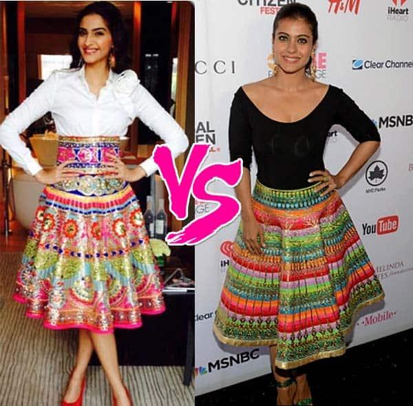 Kajol or Sonam Kapoor – who looks better in a Manish Arora skirt?