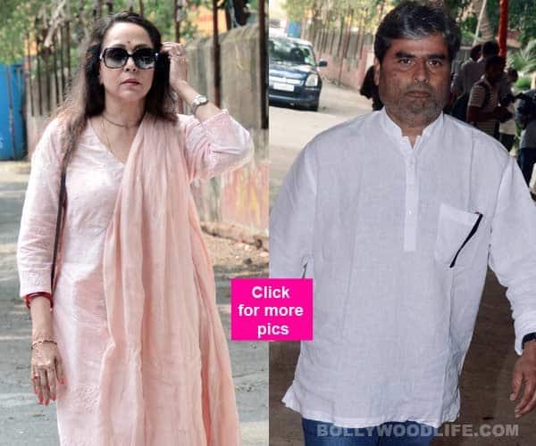 Hema Malini and Rangoon director Vishal Bhardwaj attend the late music composer Ravindra Jain's funeral- view HQ pics