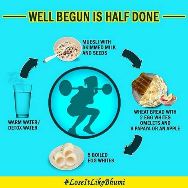 bhumi pednekar weight loss regime post