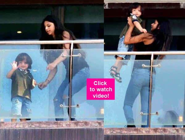 Shah Rukh Khan's son AbRam just won't stop waving at his fans – watch video!