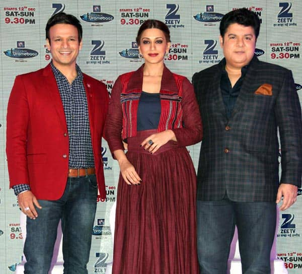 Vivek Oberoi, Sonali Bendre and Sajid Khan at launch of India's Best Dramebaaz