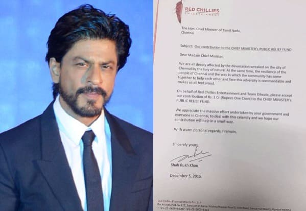 Confirmed! Shah Rukh Khan and Dilwale team donated Rs 1 Crore for Chennai flood relief!