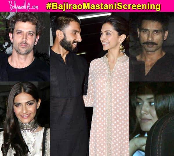Bajirao Mastani screening: Ranveer Singh-Deepika Padukone play adorable hosts for Shahid-Mira, Hrithik Roshan, Sonam Kapoor – view HQ pics!