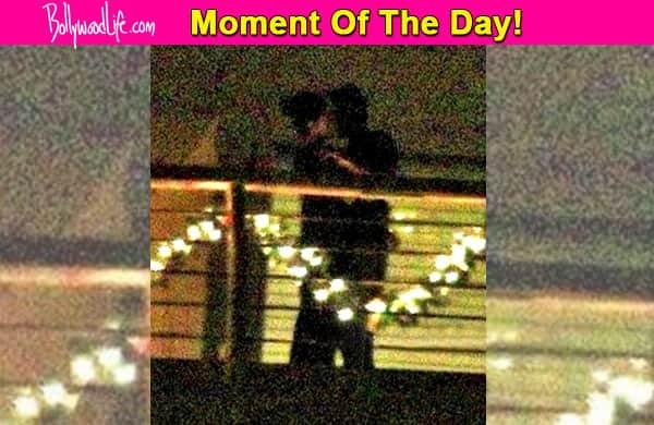 How romantic! Katrina Kaif and Ranbir Kapoor spotted KISSING at their love pad – view pic!