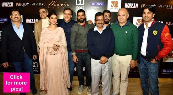 Wazir team Farhan Akhtar, Aditi Rao Hydari meet Delhi CM Arvind Kejriwal – view HQ pics