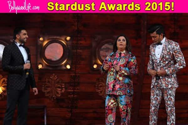 Stardust Awards 2015: Farah Khan and Riteish Deshmukh make FUN of Ranveer Singh's wardrobe – watchvideo!
