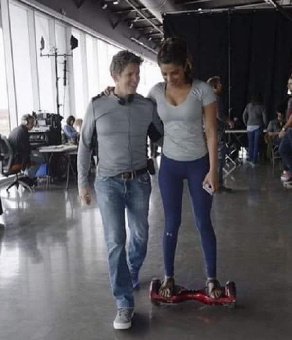 Priyanka Chopra and Quantico crew member on a IO hawk